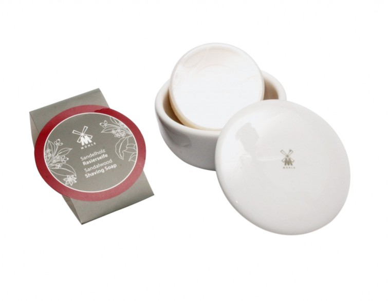 Jabón para afeitar Mühle sándalo con bol porcelana