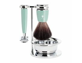 Juego de afeitar de brocha y maquinilla clásica MÜHLE Rytmo resina verde menta