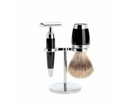 Juego de afeitar brocha y maquinilla clásica de afeitar MÜHLE STYLO resina negra