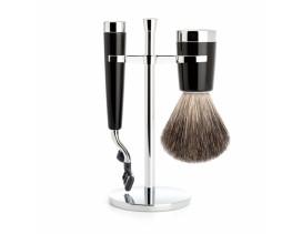 Juego de Brocha y maquinilla de afeitar MÜHLE LISCIO resina negra