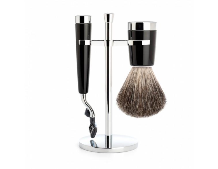 Juego de Brocha y maquinilla de afeitar MÜHLE STYLO resina negra