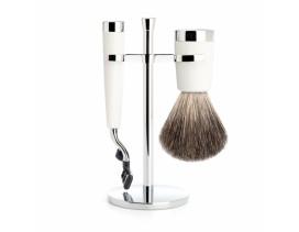 Juego de afeitar Brocha y maquinilla Mach 3 MÜHLE LISCIO resina blanca