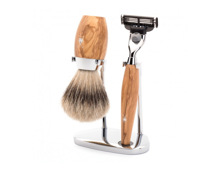 Juego de Brocha y maquinilla de afeitar MÜHLE LISCIO resina Blanca