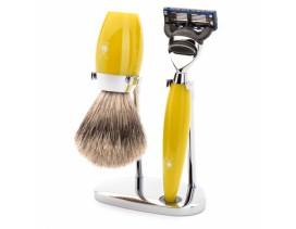 Juego de afeitar MÜHLE Kosmo resina amarilla