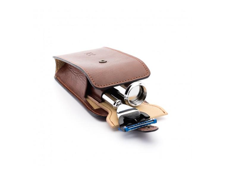 Set afeitado para viaje brocha/M3 piel marrón