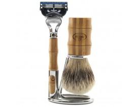 Juego de Brocha y maquinilla de afeitar Omega Bamboo