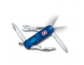 Navaja Victorinox mini 10 usos Midnite Manager con linterna azul transparente