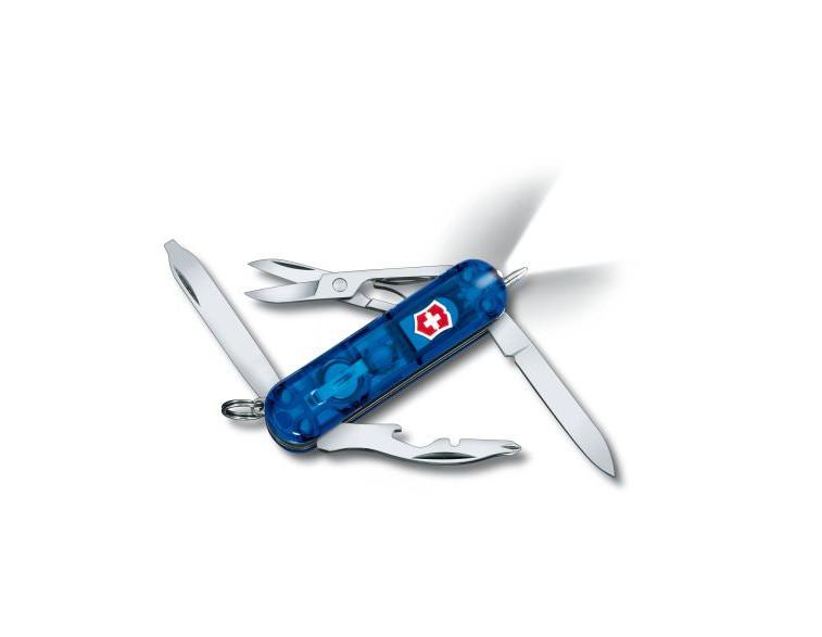 Navaja-Victorinox-mini-10-usos-Midnite-Manager-con-linterna-azul-transparente