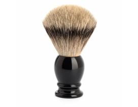 Brocha de afeitar Mühle Classic tejón punta de plata mango resina negra