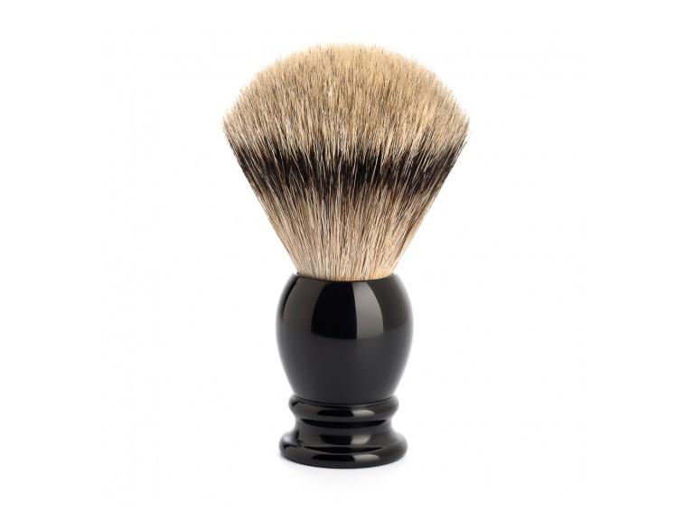 Brocha-afeitar-Mühle-tejón-silvertip-mango-resina-negra