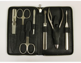 Estuche de manicura y pedicura 7 piezas Dreiturm cuero negro