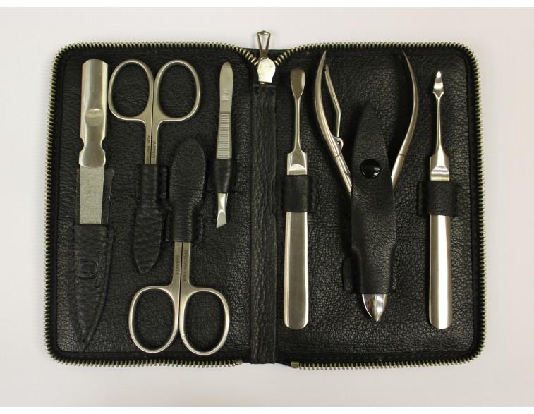 Estuche-manicura-pedicura-7-piezas-Dreiturm-cuero-negro