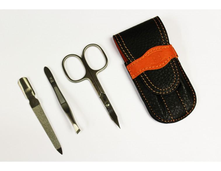 Estuche-manicura-3-piezas-Dreiturm-Duocolor-negro-naranja