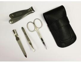 Estuche de manicura 4 piezas Dreiturm negro con cortauñas