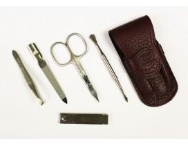 Estuche de manicura 5 piezas Dreiturm Marsala granate con cortauñas