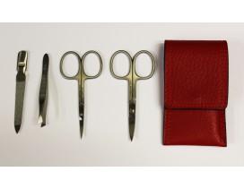 Estuche de manicura 4 piezas inox Dreiturm Rosso rojo 2 tijeras