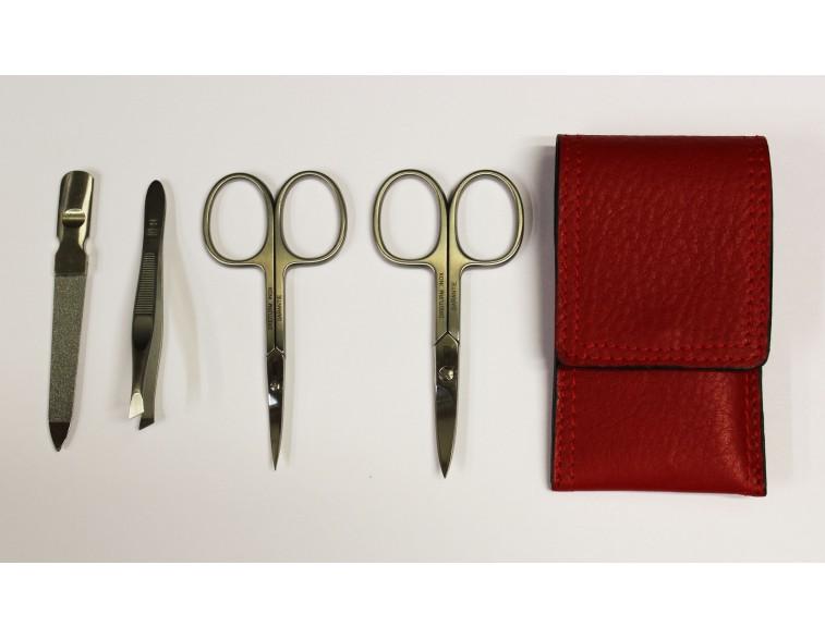 Estuche-manicura-4-piezas-Dreiturm-Rosso-rojo-2-tijeras