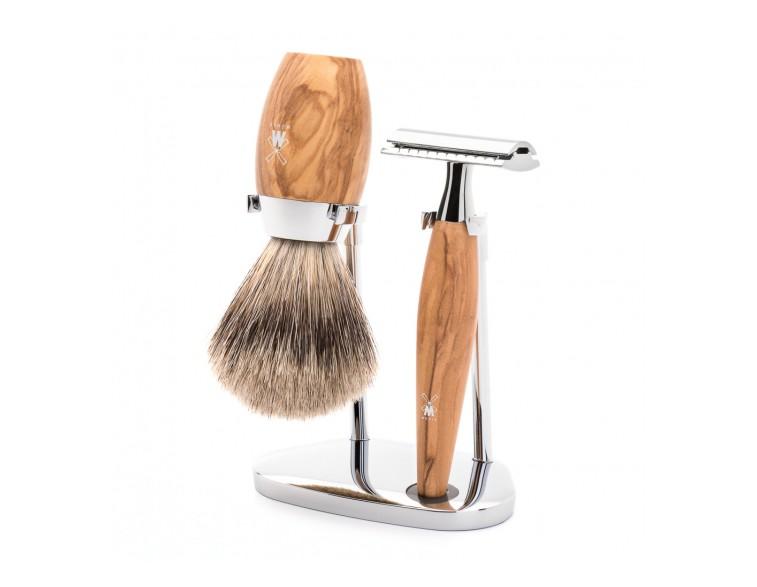 Juego-afeitar-Brocha-y-maquinilla-clásica-MÜHLE-KOSMO-olivo