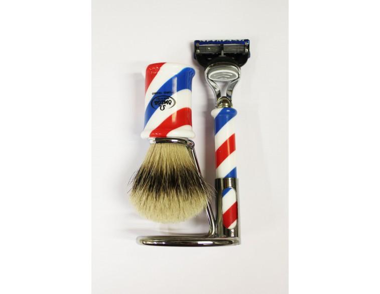 Juego-afeitar-Brocha-maquinilla-fusion-Omega-barbería