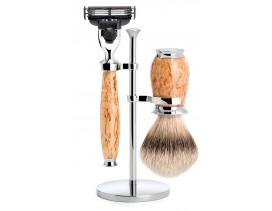 Juego de afeitar brocha y maquinilla Mach3 MÜHLE PURIST abedul
