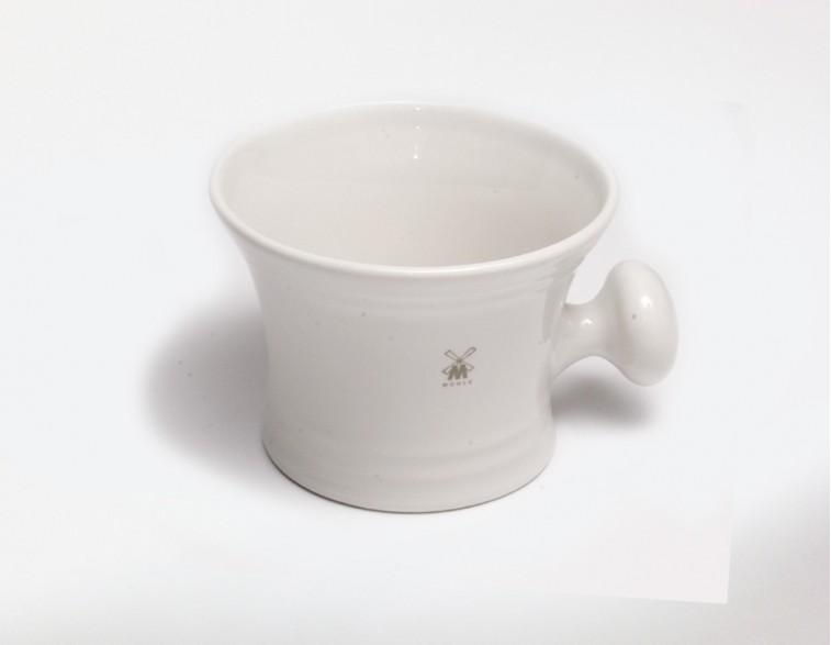 Bol Mühle porcelana blanca con asa para afeitar