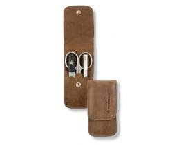 Estuche de manicura 3 piezas inox Pfeirling - Solingen cuero vintage