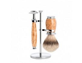 Juego de afeitar brocha y maquinilla clásica Mühle PURIST abedul