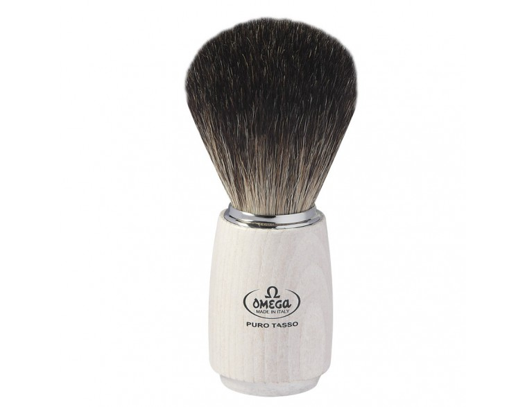 Brocha afeitar Omega tejón mango madera blanca