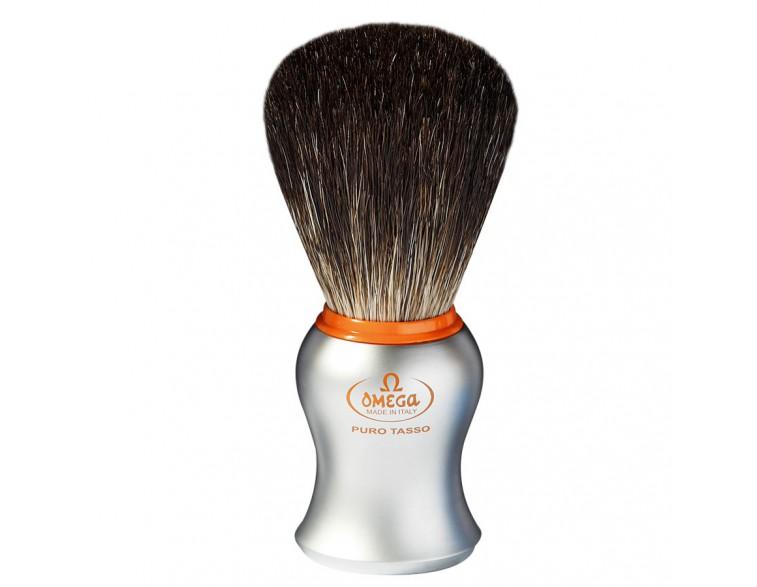 Brocha afeitar Omega tejón mango imitación aluminio