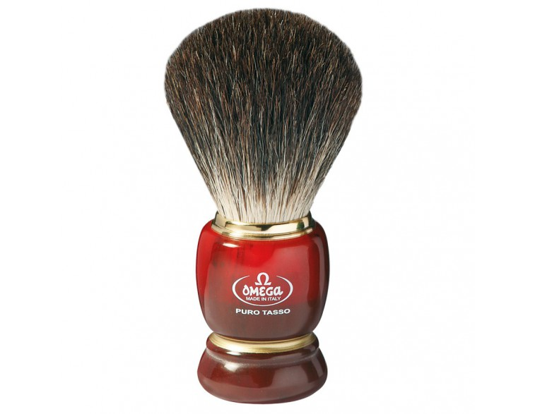 Brocha afeitar Omega tejón 1ª mango imitación carey/aro dorado